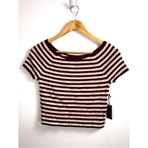 Forever 21 Cropped Shirt  M Red Pink Stripe
